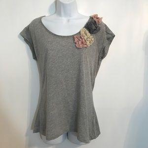 Gray Embellished T-shirt by Banana Republic medium